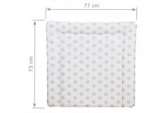 Wickelauflage 77 x 73 cm weißer Untergrund mit beigen Sternen