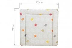 Wickelauflage 77 x 73 cm in beige mit bunten Sternen