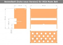 Abmessungen Ikea Malm Beistellbett (hoch)