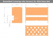 Abmessungen für niedrige Variante Ikea Beistellbett