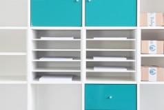 Ikea Exepdit Regal mit Papierfächern