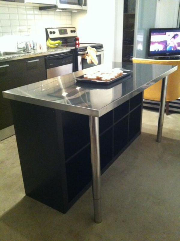 Kücheninsel mit sitzgelegenheit  So baust du dir ganz leicht eine Kücheninsel aus dem Ikea Kallax ...