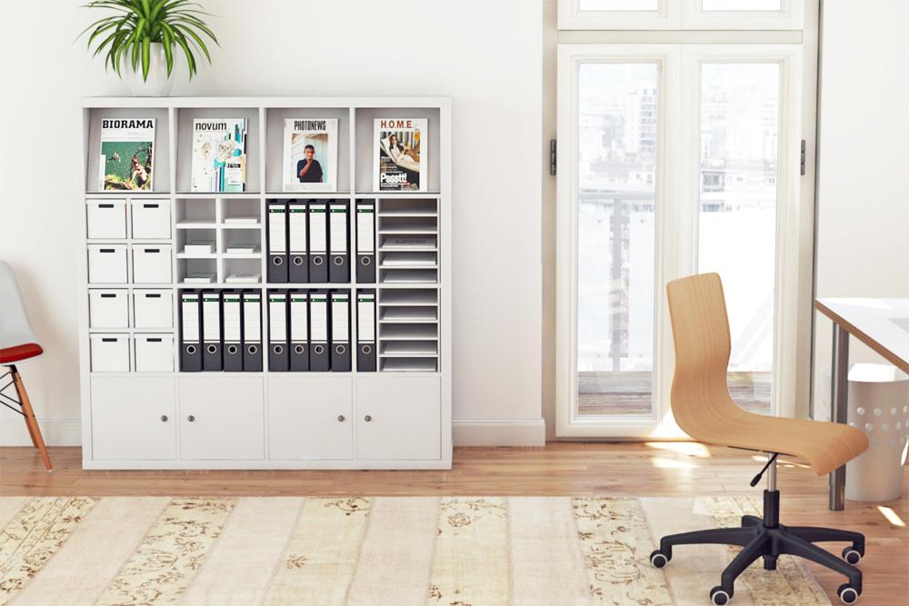 Arbeitszimmer ikea expedit  Kallax Regal Hack: Der perfekte Büroschrank für dein Arbeitszimmer ...
