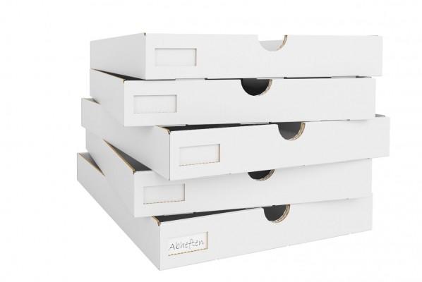 Lieferumfang 5 Pappschubladen