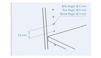 Wie groß ist der Lochabstand bei einem Billy Regal?