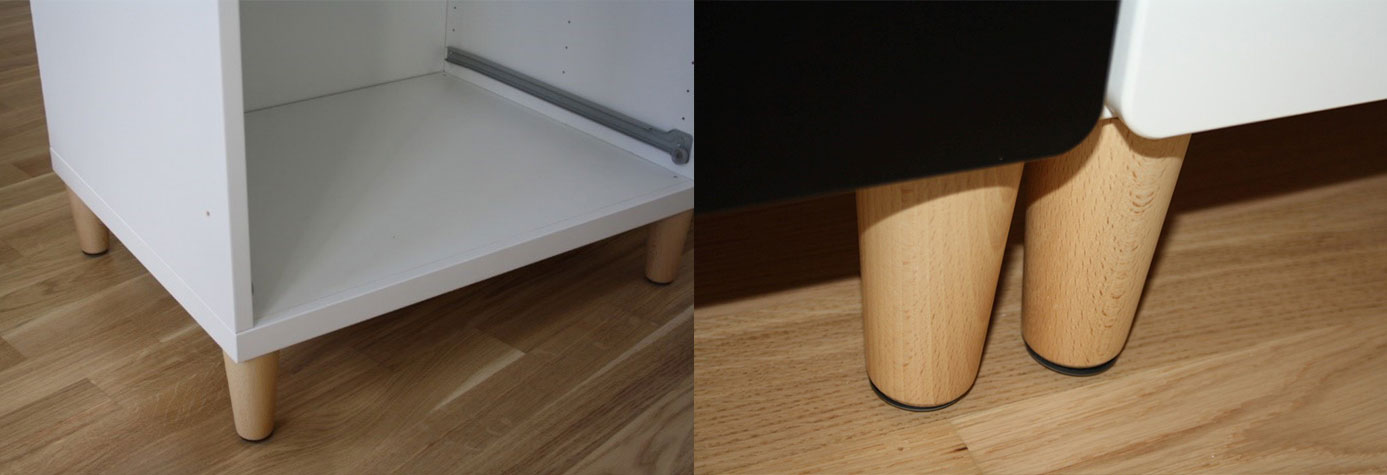 Möbelfüße am Ikea Stuva Kleiderschrank