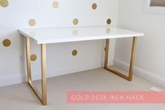 Jetzt wird's goldig & glamourös – IKEA Schreibtisch pimpen