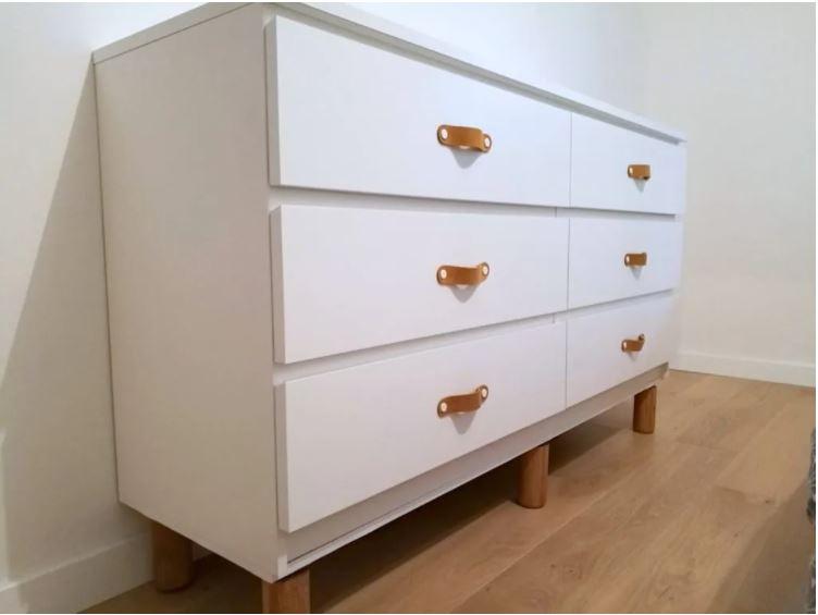 Ikea-Malm-Kommode-mit-Griffen-und-F-ssen