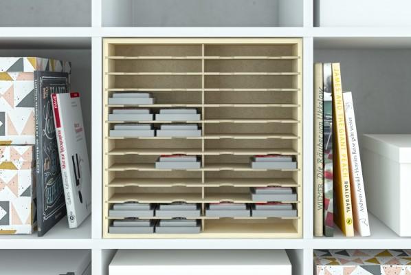 Holzeinsatz Storage für Stempelkissen im Kallax Regalfach
