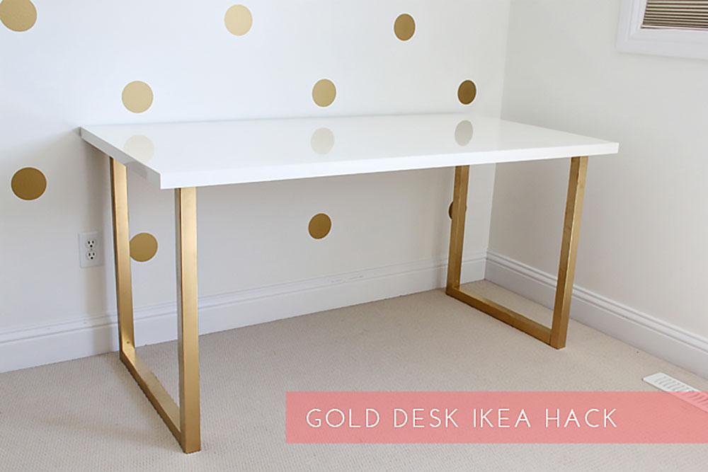 Dein ikea schreibtisch im gold look new swedish design for Expedit schreibtisch
