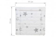 Wickelauflage 77 x 73 cm in beige mit silbernen Sternen