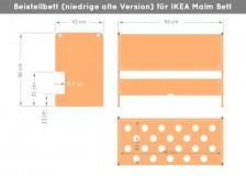 Abmessungen Ikea Malm Beistellbett (niedrig)