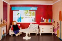 Puppenstube mit Wohnzimmer Einrichtung