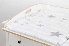 Wickelbrett Deluxe mit Wickelauflage (Motiv silberne Sterne)